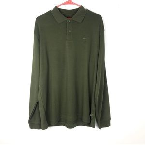 Izod Smooth Cotton M Forest Green Polo Sweater